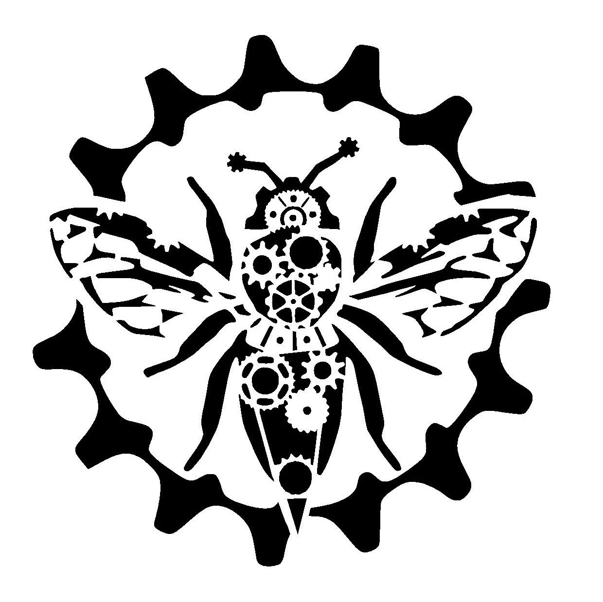 6 6 Steampunk Cogs Bumble Bee Stencil