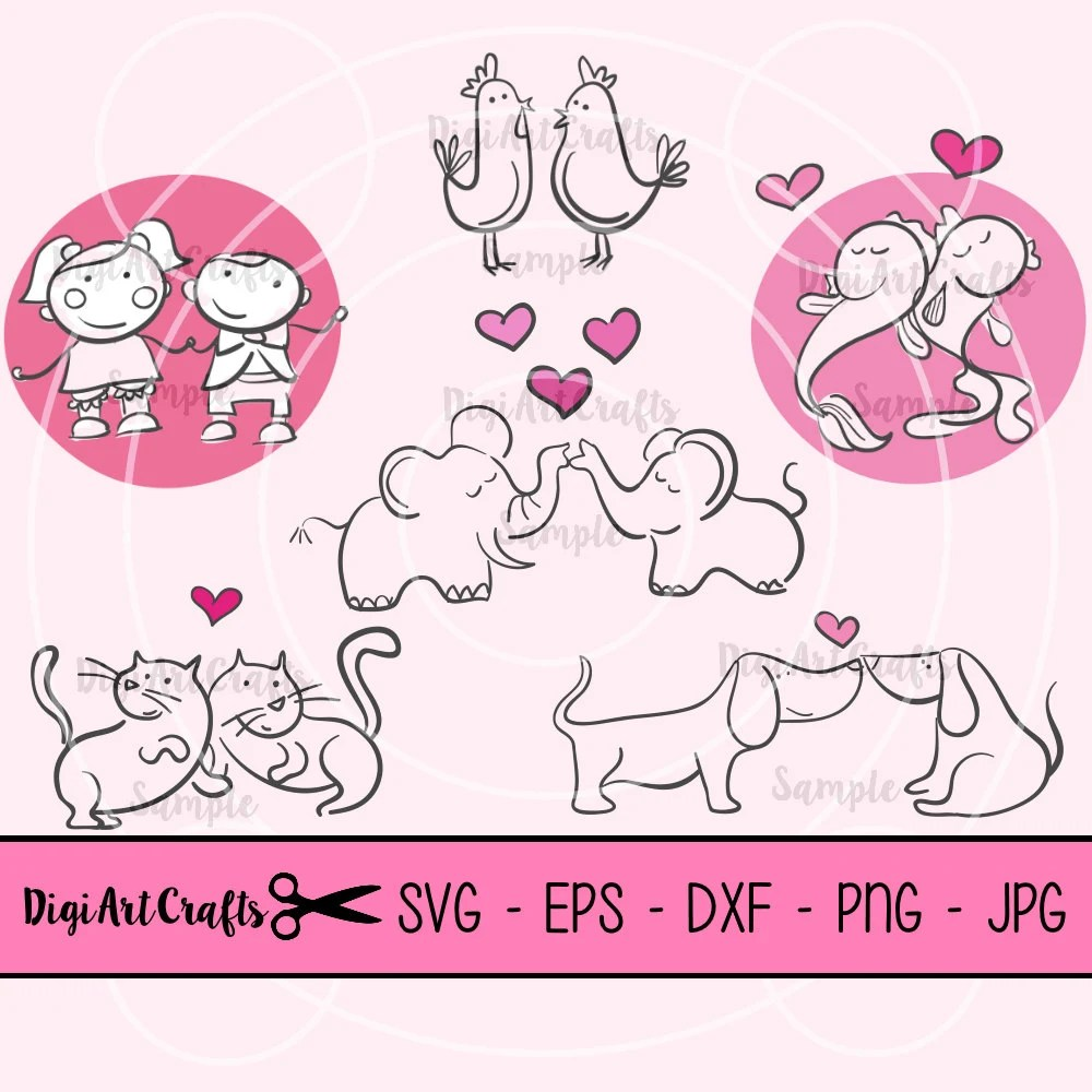 Download Animal Love Couples SVG cutting files / Love clip art / eps