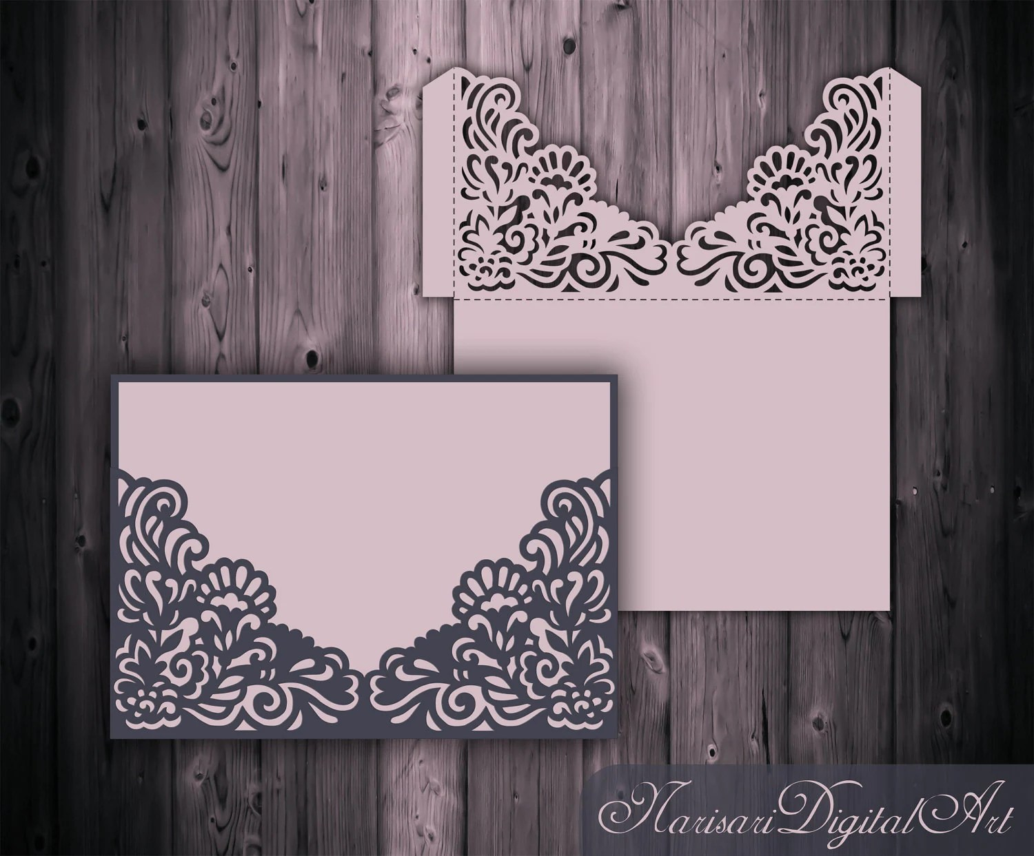 Wedding Invitation Pocket Envelope 5x7 SVG Template