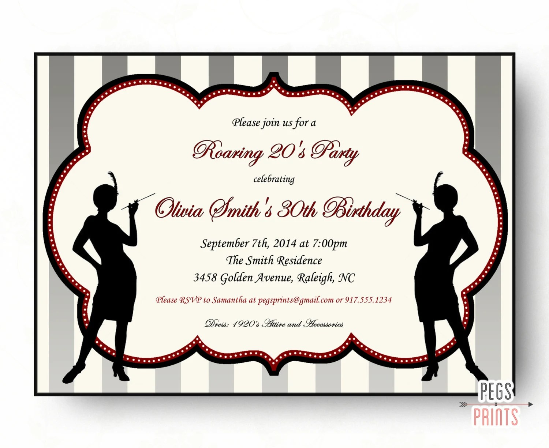 Roaring 20s Birthday Invitation S Invitation Printable