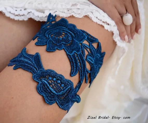 Wedding Garter Set Unique Bridal Garter Teal Blue Garter