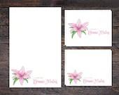 Pink Lily Stationery Set ...