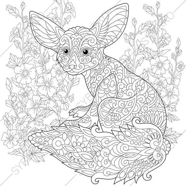 Fennec Fox Mallow Flowers Coloring Pages Animal Coloring