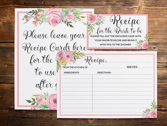 Floral Recipe Card Pink Recipe Cards Kitchen Bridal Shower