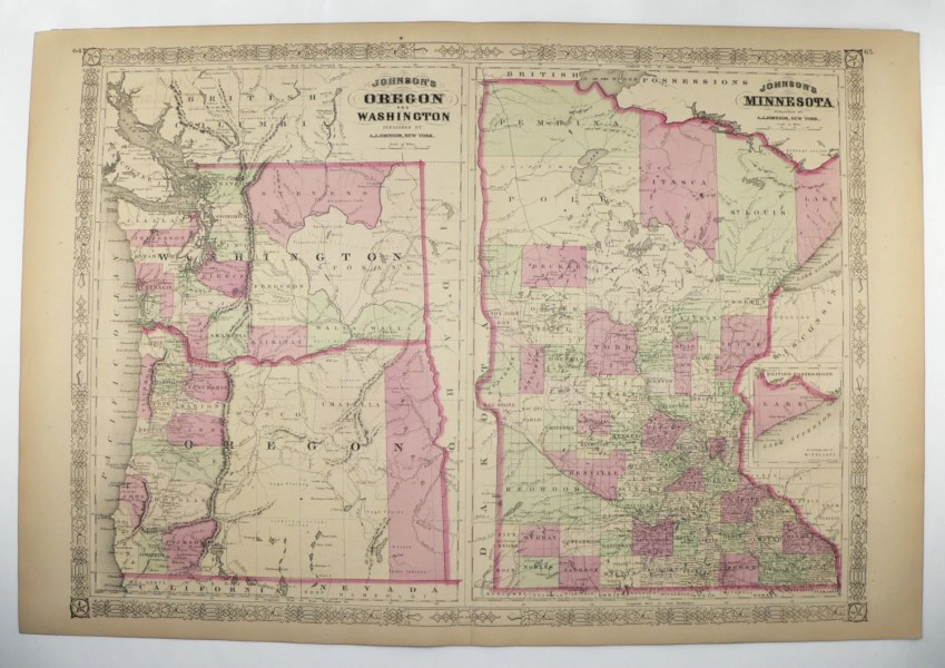 1867 Johnson Oregon Map Washington Minnesota Map 1800s Map