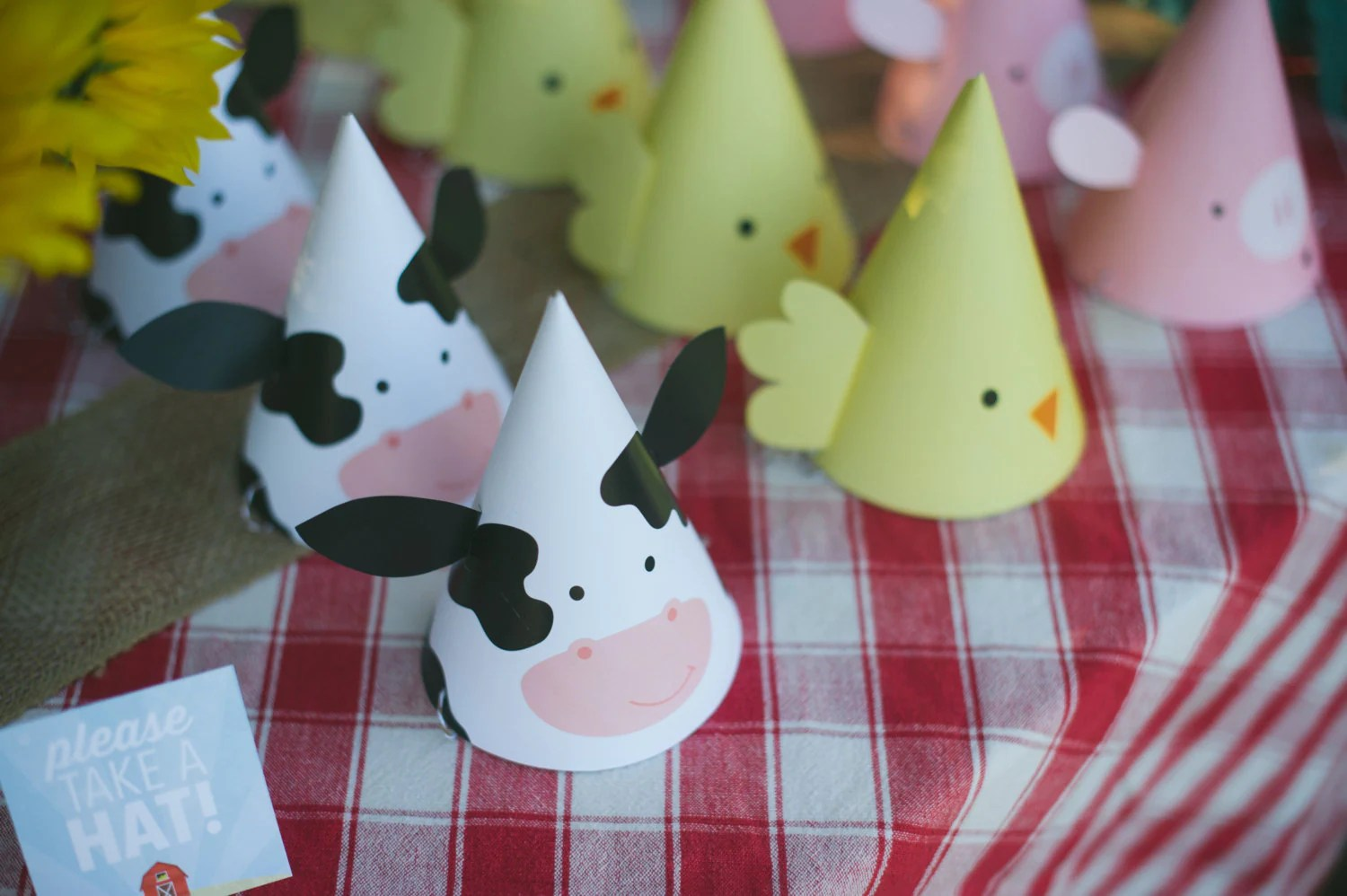 Printable Party Hats Farm Animal Birthday Party Cow Hat