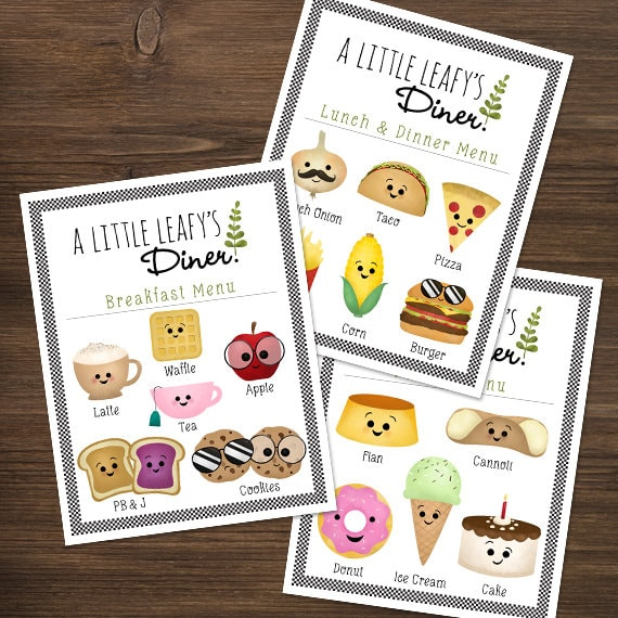 Printable Pretend Restaurant Menus