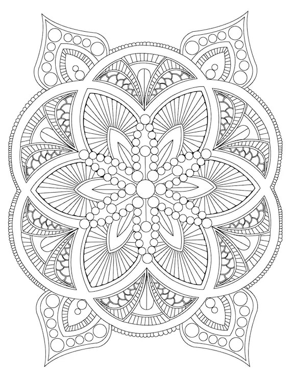 Abstract Mandala Coloring Page for Adults DIY Printable | free mandala colouring pages for adults