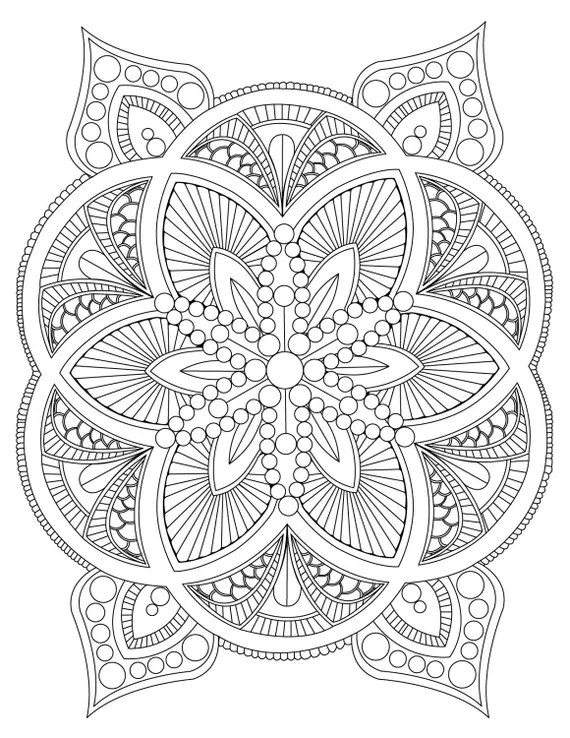 Abstract Mandala Coloring Page for Adults Digital Download | free online mandala coloring pages for adults