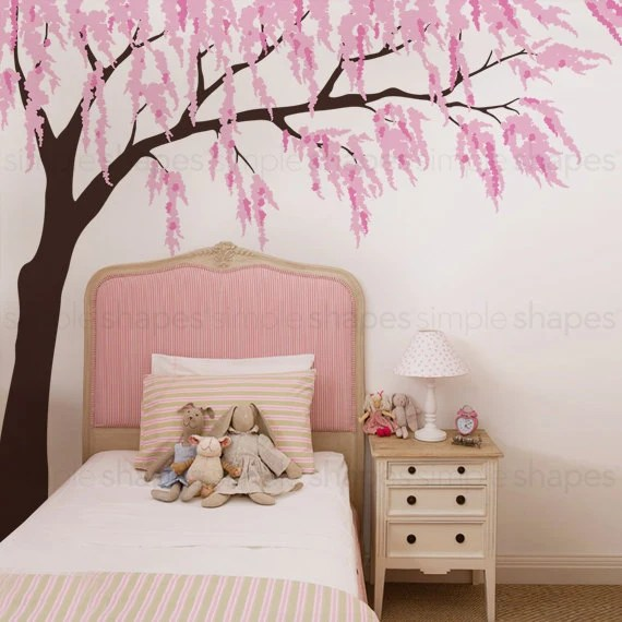 Weeping Willow Wall Decal with Cherry Blossoms by SimpleShapes