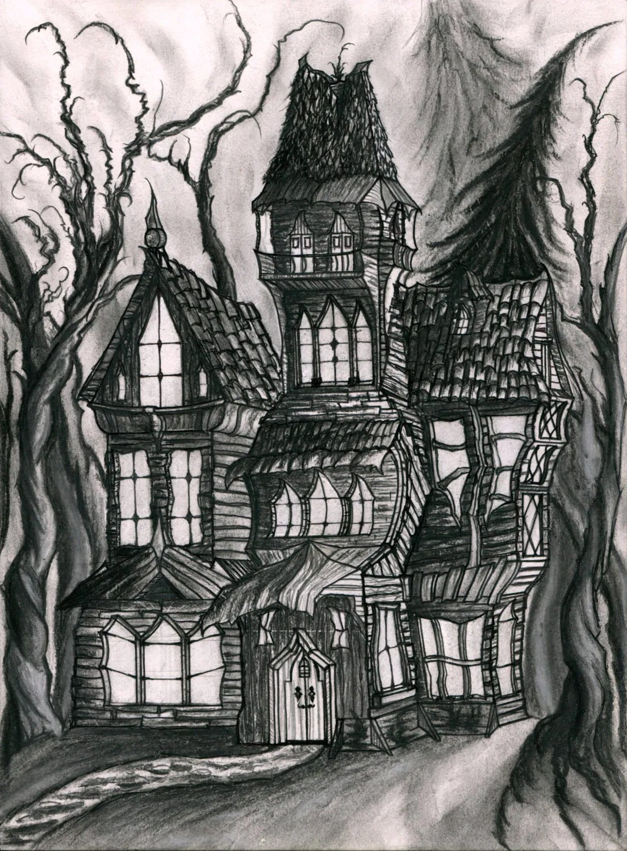 Print Of An Original Drawing Of A Haunted House Dark Fantasy