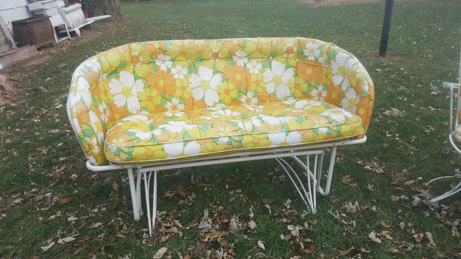 Mid Century White Metal Patio Furniture Glider Love Seat and Like this item