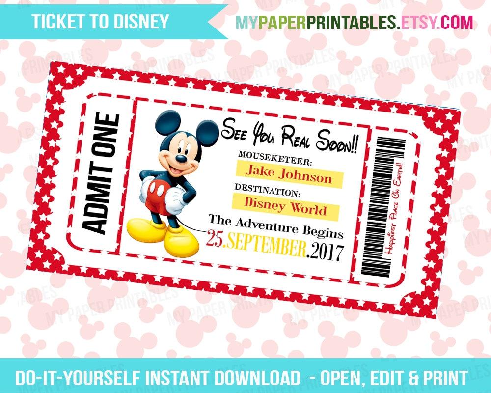 Printable Ticket To Disney DIY Personalize INSTANT DOWNLOAD