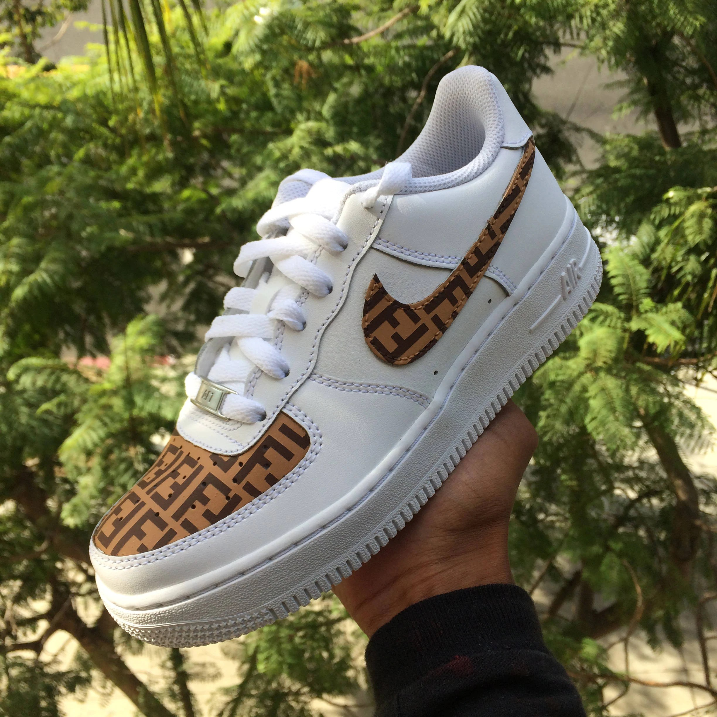 970c5441e2f8 Custom Nike Air Force 1 Brown Fendi Monogram Print