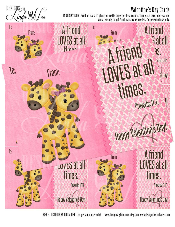 Christian Kids Valentine S Day Card Classroom Giraffe 3 X