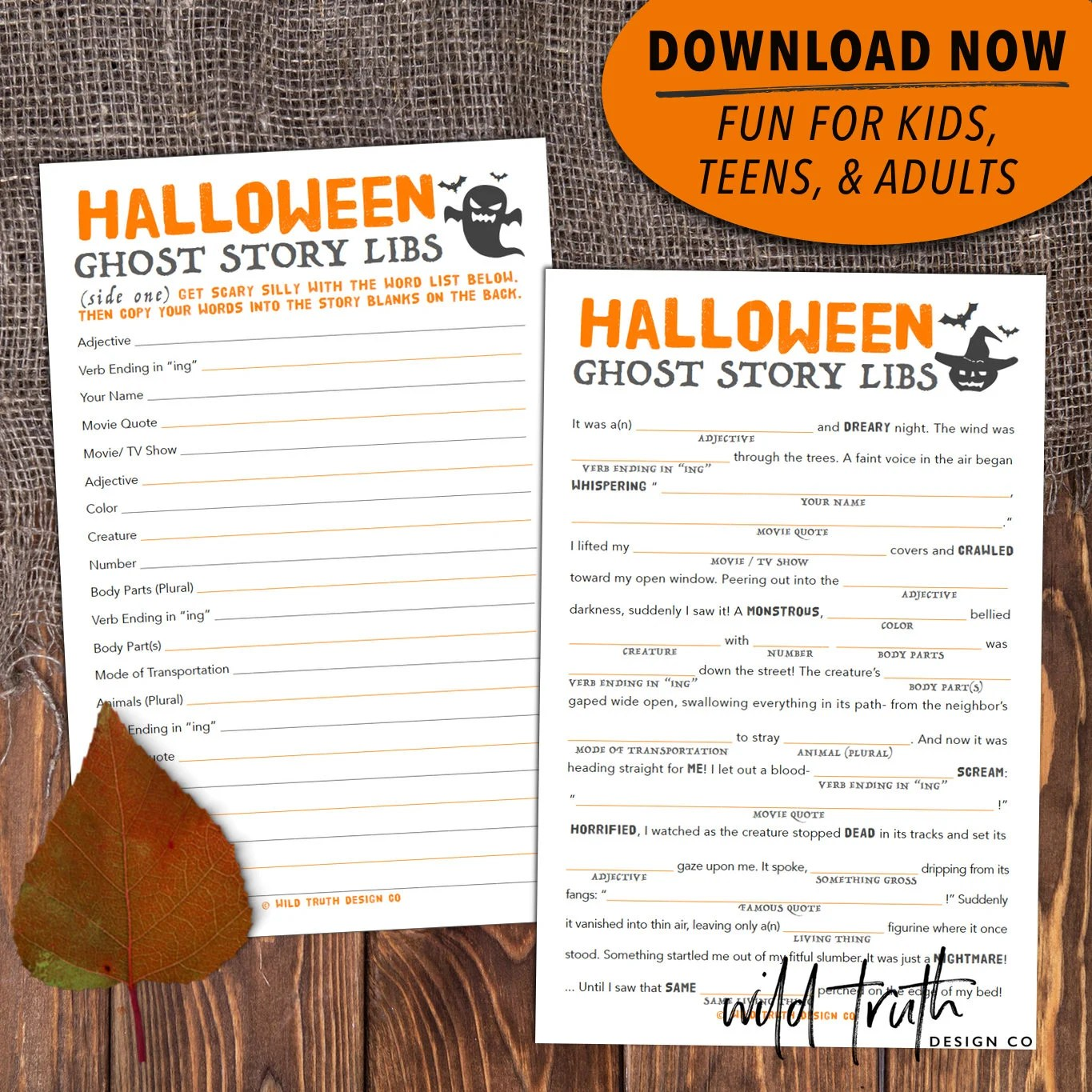 Halloween Mad Lib Party Game For Adults Kids Amp Teens