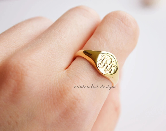 Sterling Silber Goldsiegelring Frauen Signet Ring