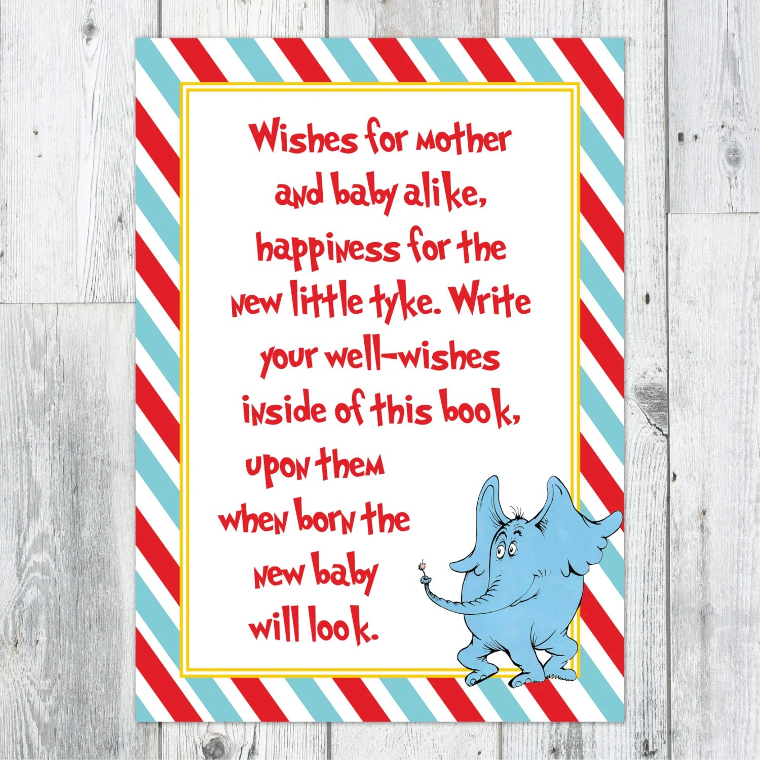 Items Similar To Dr Seuss Baby Shower Well Wishes Printable Sign On Etsy
