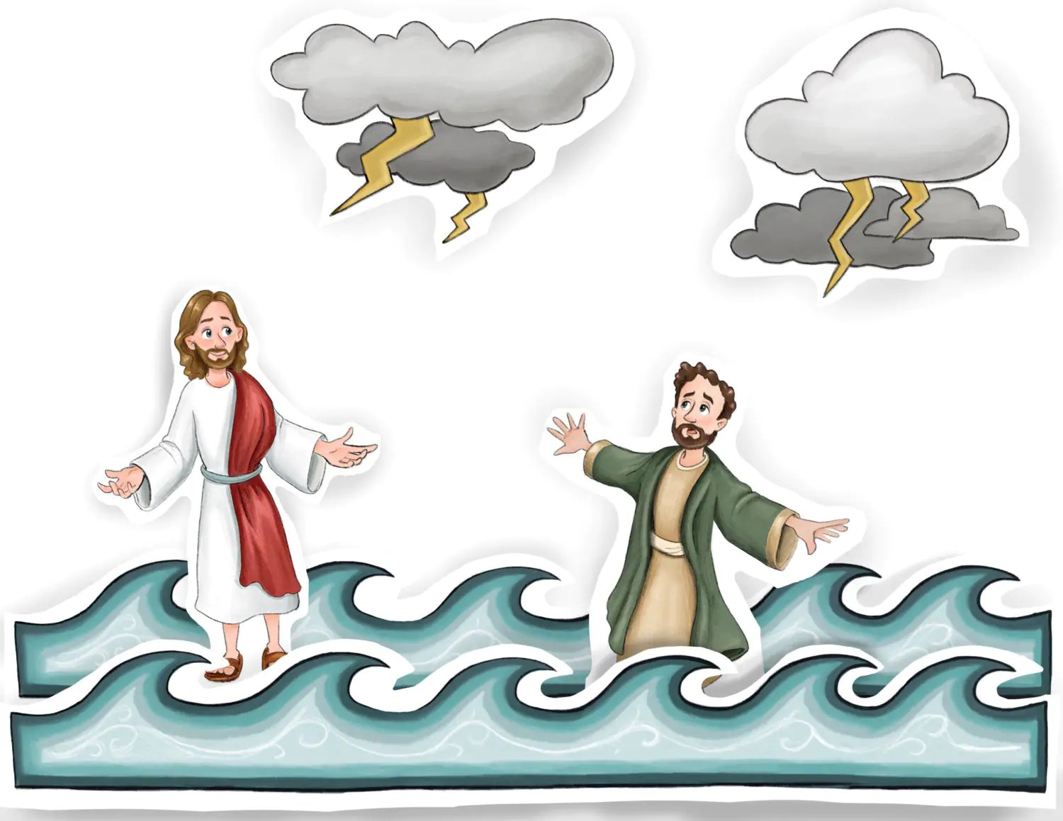 Jesus Christ Walking On Water Fishermen Calm Raging Sea