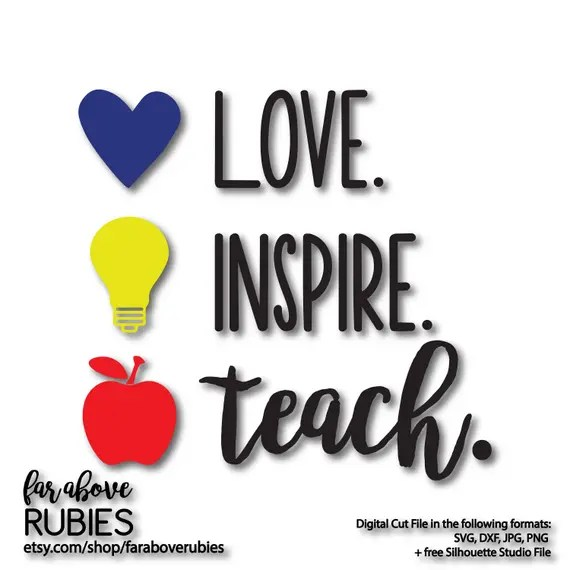 Download Love Inspire Teach Heart Light Bulb Apple School Teacher