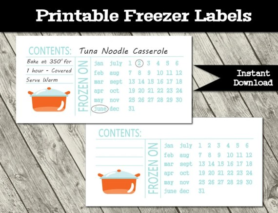 Freezer Meal Labels