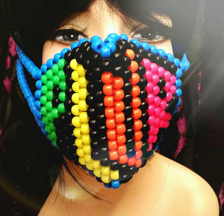 PLUR Kandi Mask Neon Surgical Mask Rave Mask Black And Blue