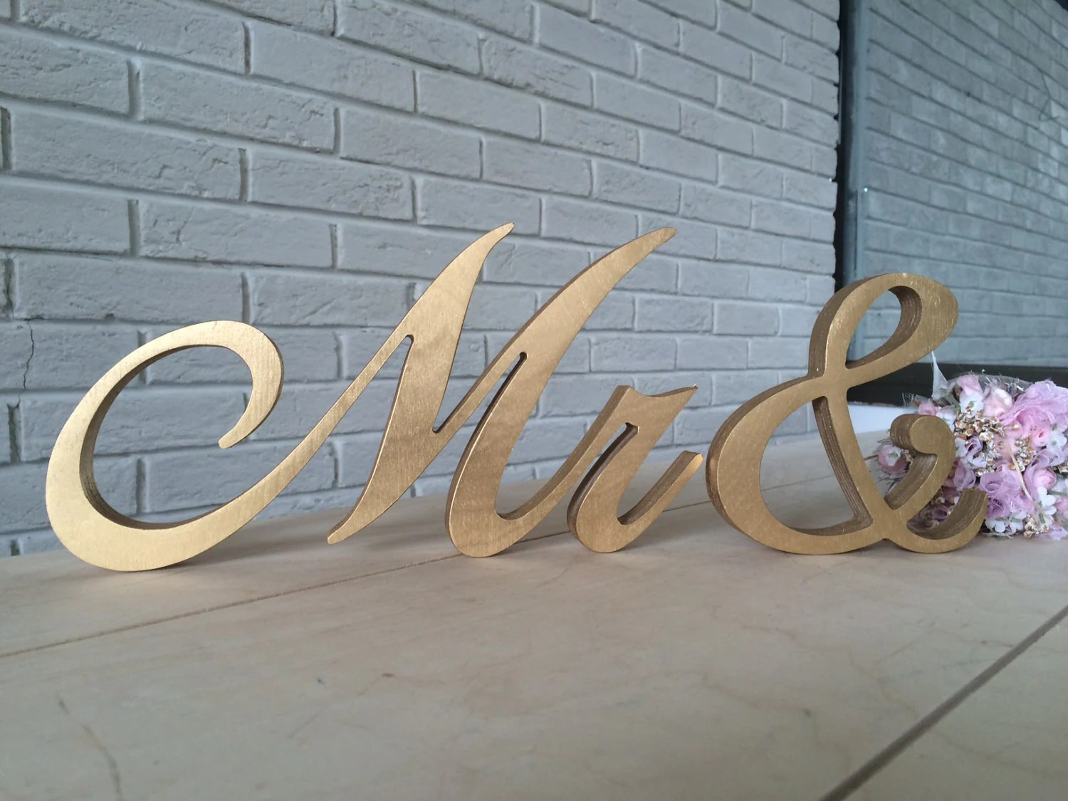 Script Letters Table Sign Mrs And Mr For Wedding Table Gold