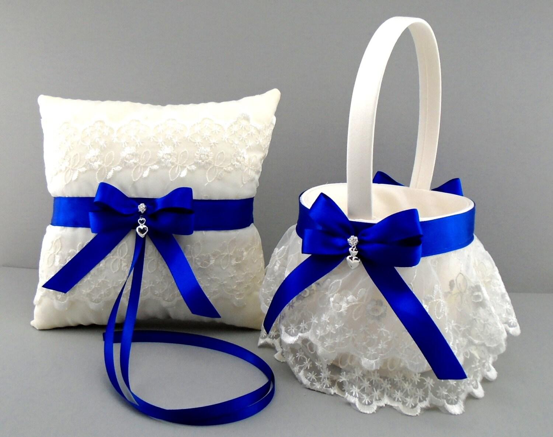 Cobalt Blue Wedding Bridal Flower Girl Basket & Ring Bearer