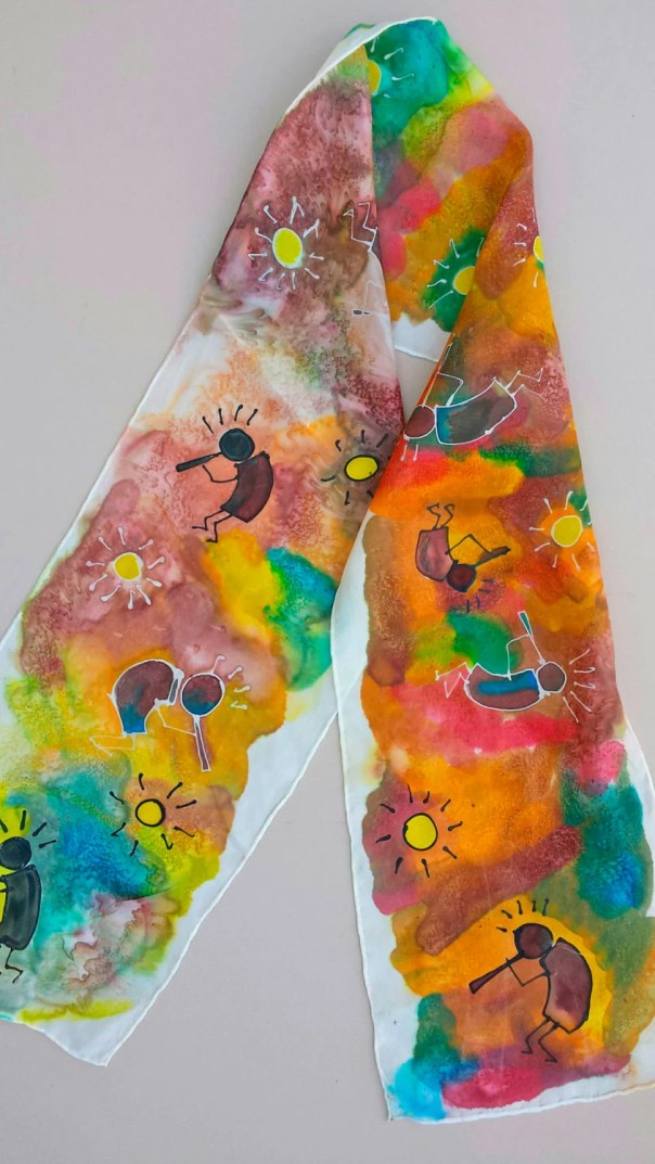 Kokopelli silk scarf. Whimsical design with Original Art, Hand drawn, dyed and designed by USA artist. Custom art available, FREE shipping