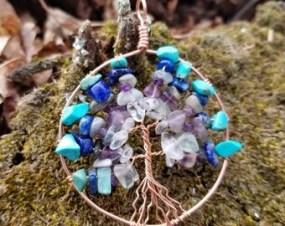 "Custom Birthstone Tree of Life Pendant, Pattern: ""Ray Lines"""