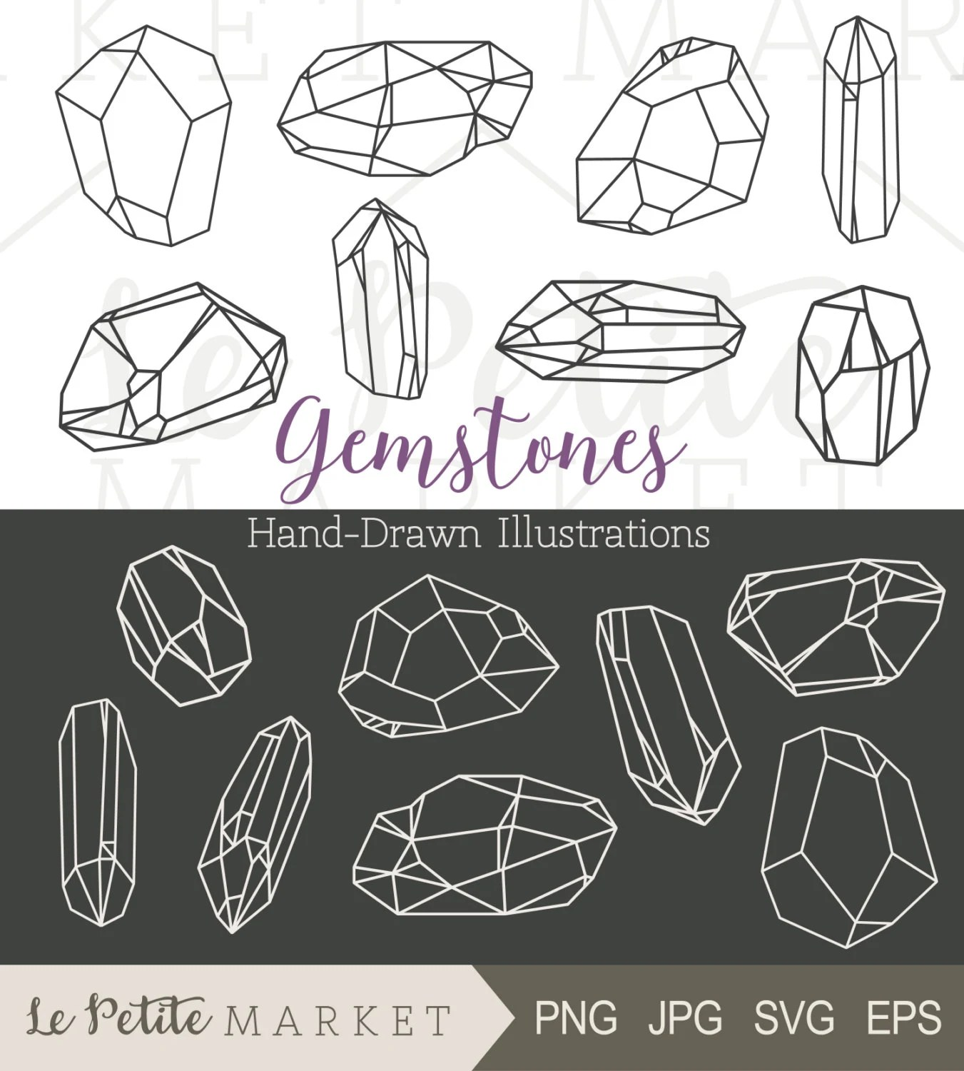 Hand Drawn Gem Clipart Crystal Clipart Bling Clip Art Hand