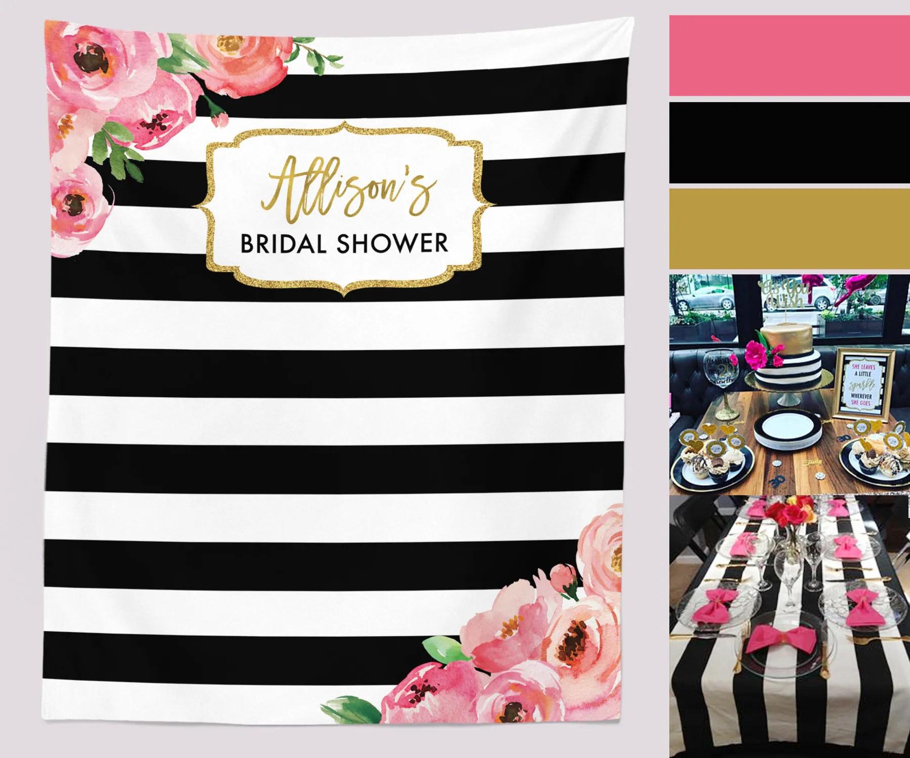 Floral Bridal Shower Backdrop Black And White Stripe