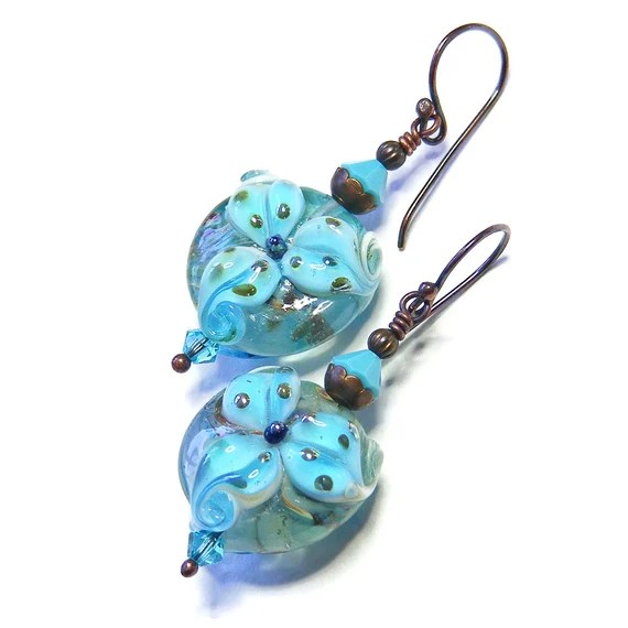 Turquoise Tiger Lily Earrings