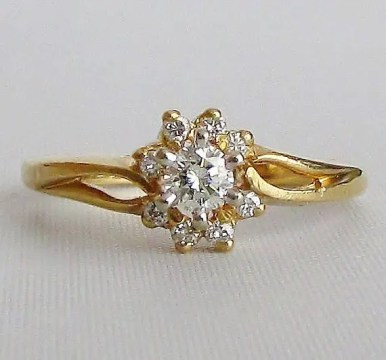 RINGTIQUE Diamond Floral Ring   14k Yellow Gold Diamond Petite Engagement or Right Hand  Ring  GIA