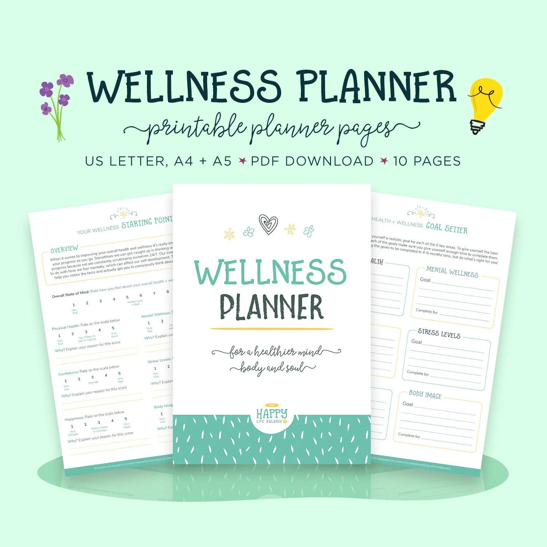 Wellness Planner Health Planner Goal Planner Wellness