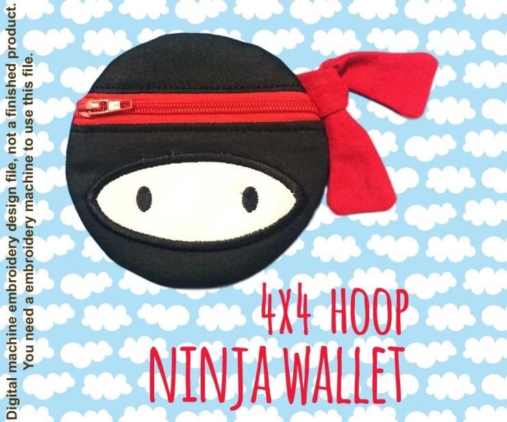 NINJA wallet pouch - 4x4 hoop - ITH - In The Hoop - Machine Embroidery Design File, digital download