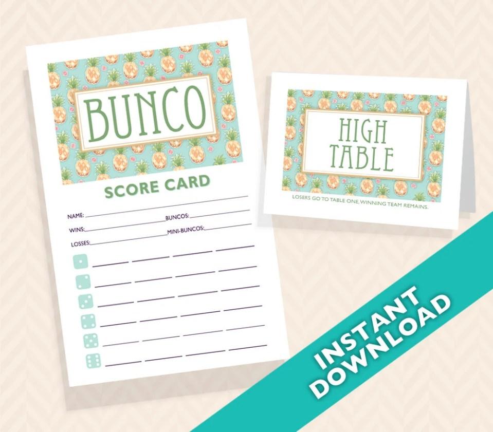 Pineapple Bunco Scorecard...