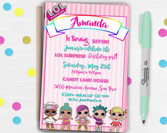Lol Surprise Birthday Invitations