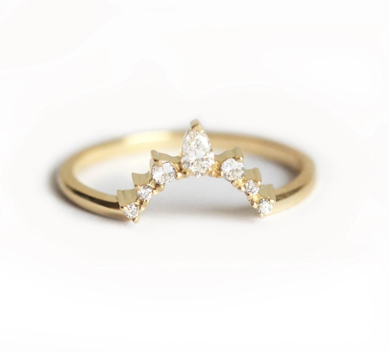 Diamond Wedding Band Diamond Crown Ring Curved Diamond Ring