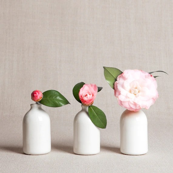 Set Of Three White Bud Vases