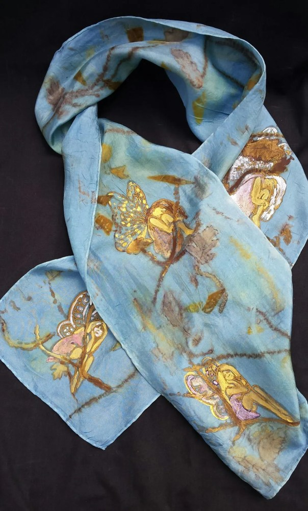 Blue Silk Scarf, Hand Painted with Original Faeries by Artist, Unique Ecoprinted Leaf Prints from Nature, Fairy Art, One of a Kind, 8 x 54