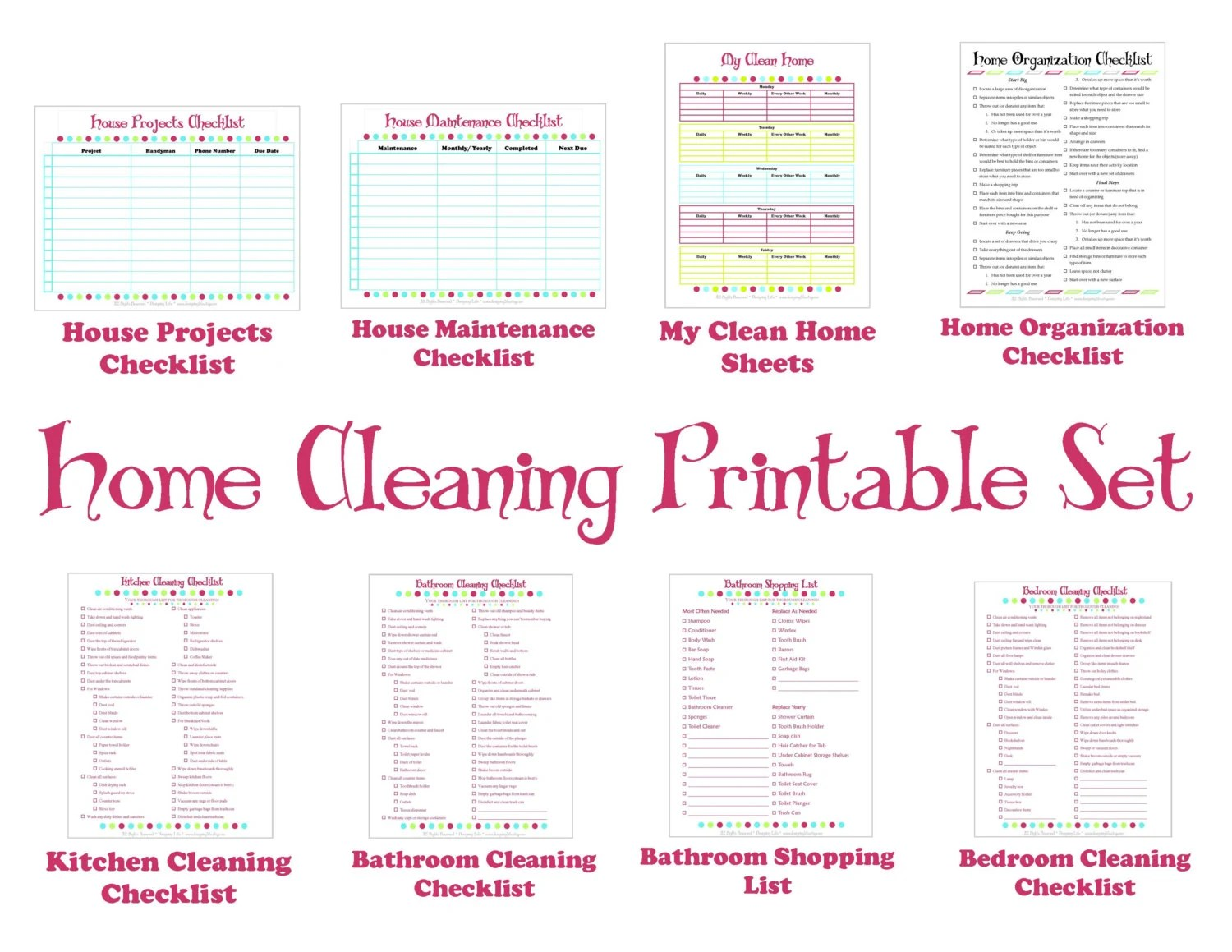 Cleaning Schedule Printable Set Keep Your House Clean