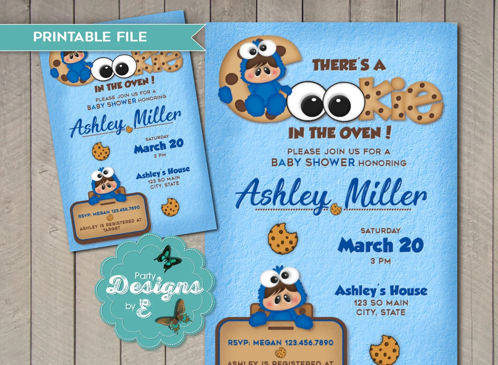 cookie monster baby shower invitation