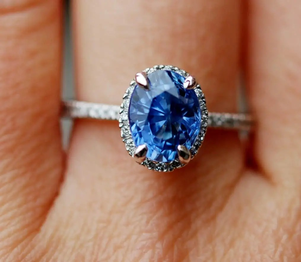 Oval Blue Sapphire Engagement Ring White Gold Engagement