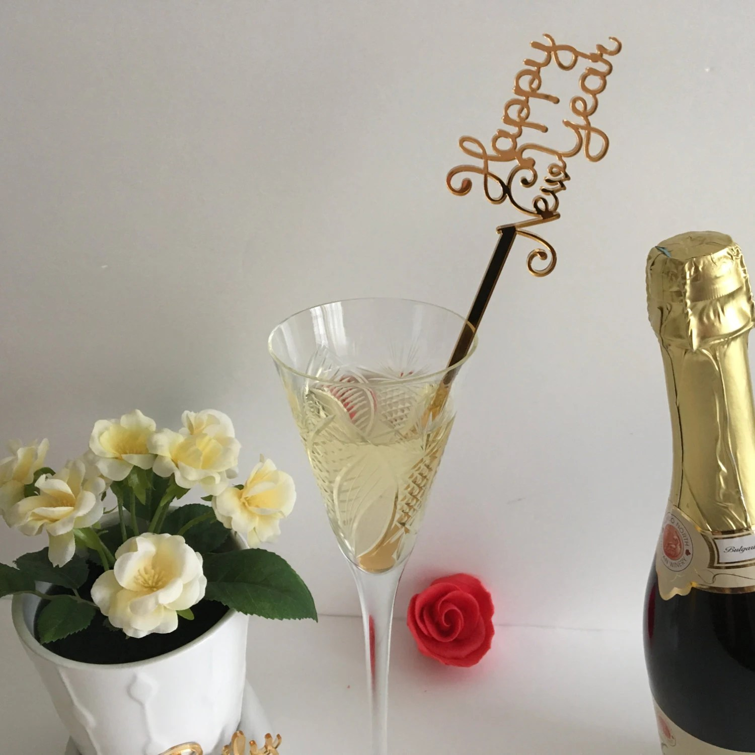 New Year s Eve Centerpiece stick 2018 Happy New Year drink