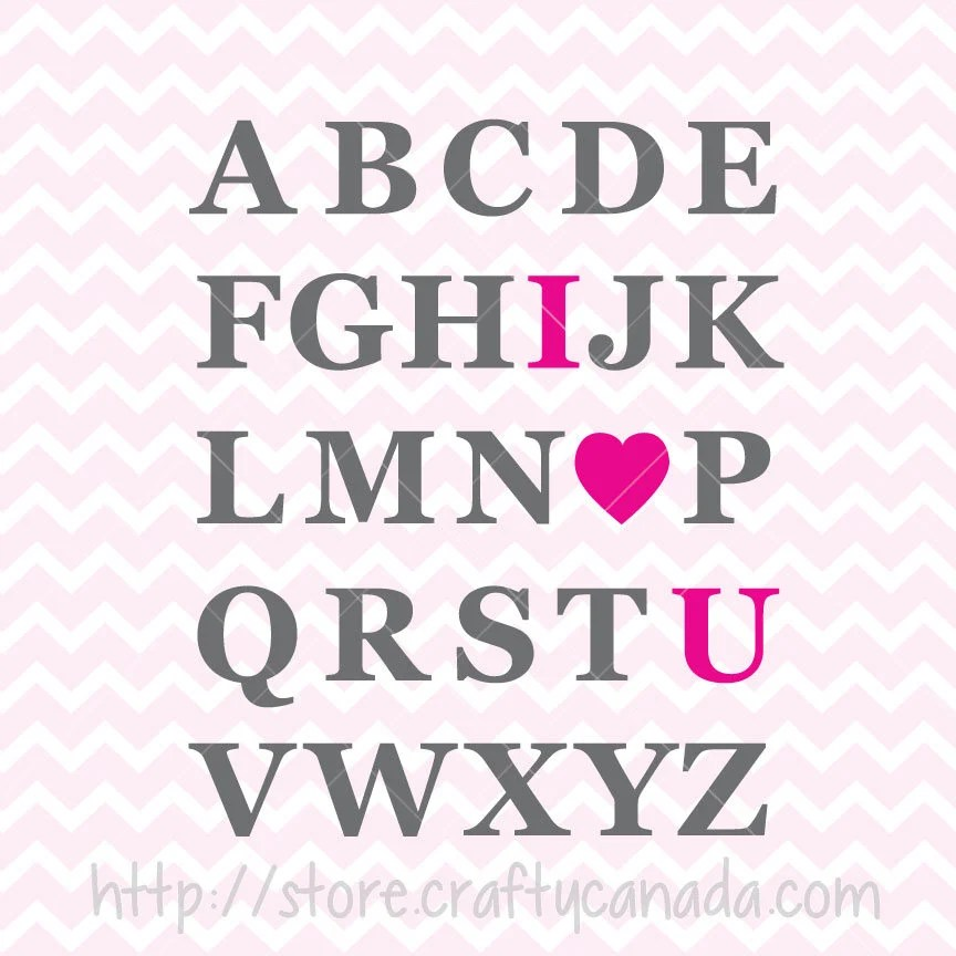 Download I Love You Alphabet SVG & PNG in Pink Green Purple and