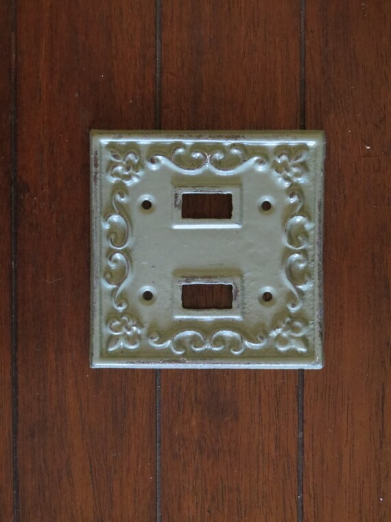 Light Switch Plate Cover / Cast Iron Double Switchplate / Sage