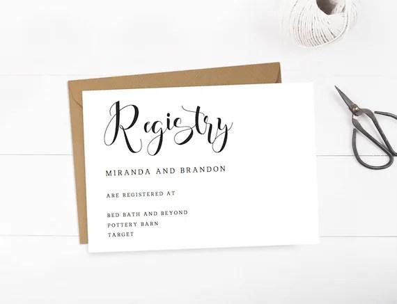 Wedding Registry Cards Baby Registry Card Gift Registry Card