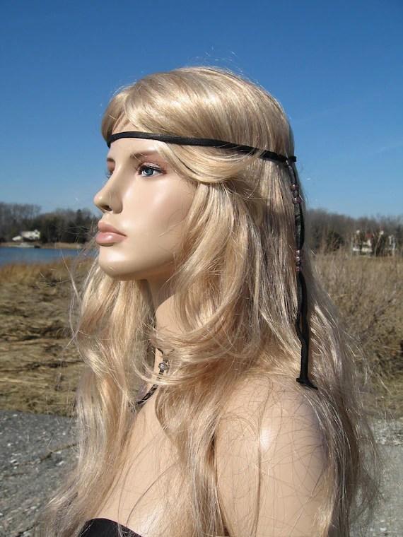 Black Leather Headband Hair Wrap BOHO Hippie 70s Style