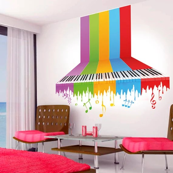 Rainbow Piano Wall Decal by AppliqueDecals